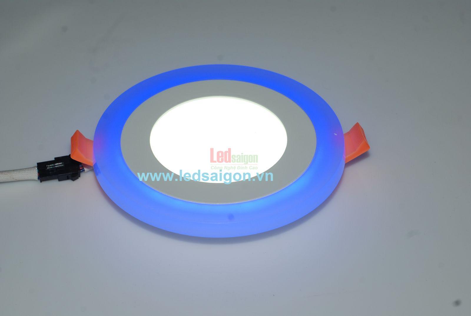 đèn led âm trần viền xanh dương 6w