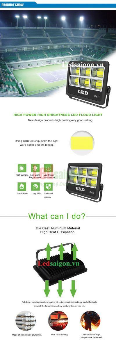 Đèn pha cao cấp 200w loại vuông