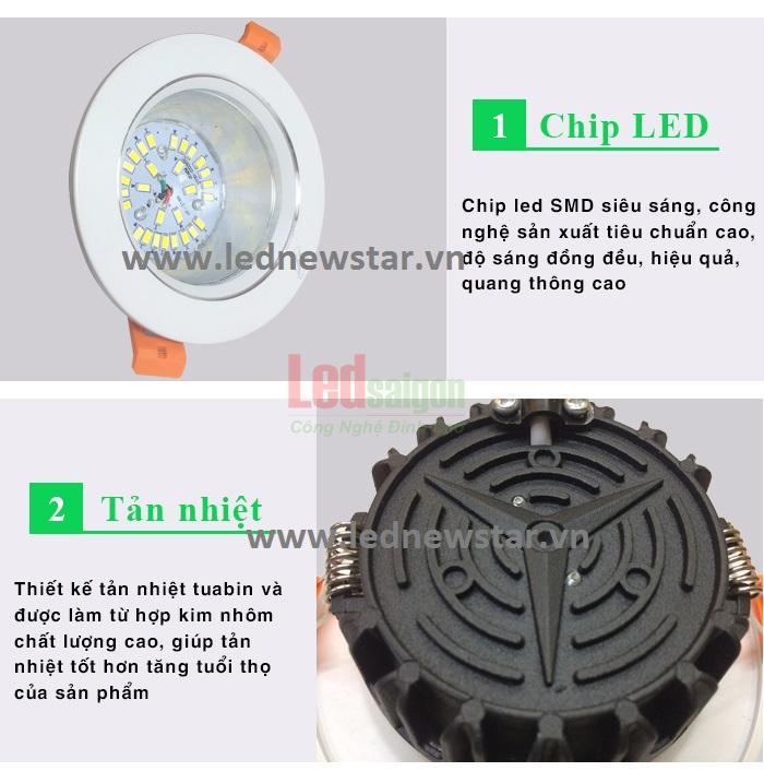 đèn led downlight 7w newstar 3 màu mặt cong